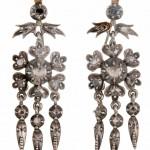 старинные серебряные серьги с бриллиантами 19 век