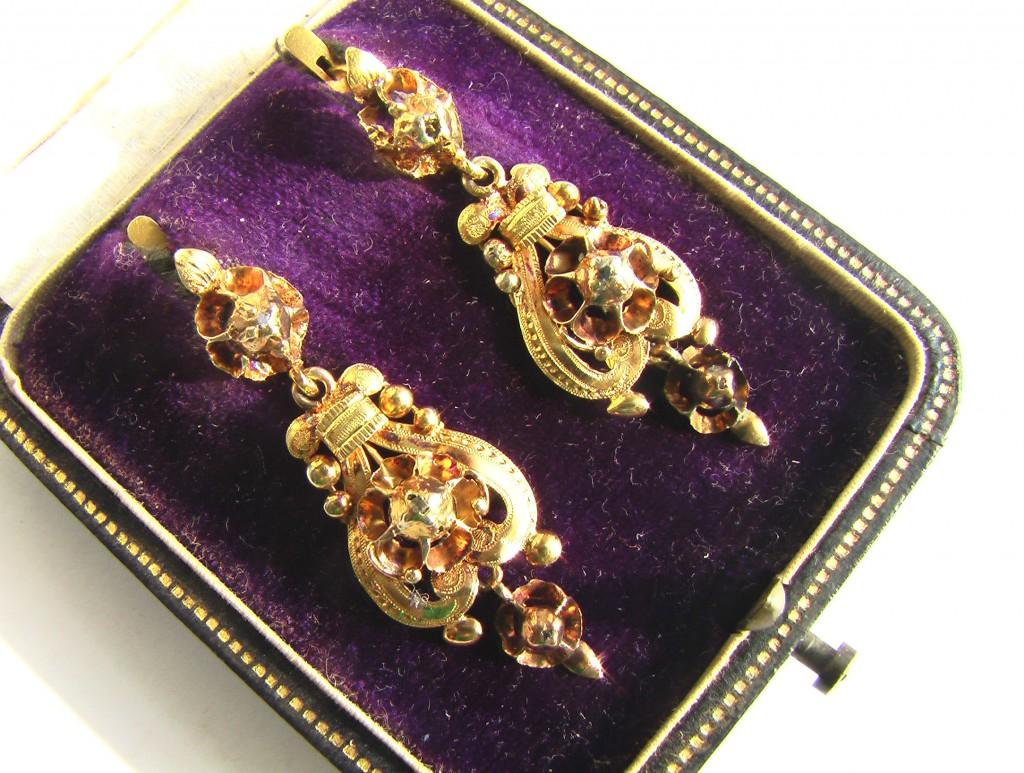 купить старинные серьги с бриллиантами
