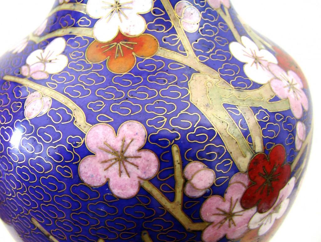 ваза китайская, горячие эмали, техника клуазане