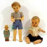 3 старинные куклы из композита и погремушка 35 см