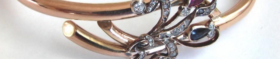 золотой старинный браслет с бриллиантами рубином и сапфиром 56 проба